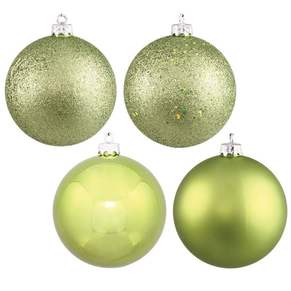 Lime 4 Inch 4 Finish Assorted Ornaments Pack Of 12