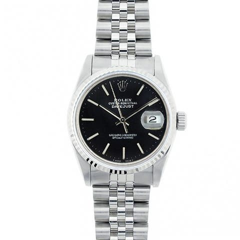 Pre-Owned Rolex Midsize Datejust 31mm Stainless Steel Black Stick Dial Watch Model 68274