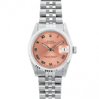 Pre-Owned Rolex Midsize Datejust 31mm Stainless Steel Salmon (Pink) Roman Dial Watch Model 68274