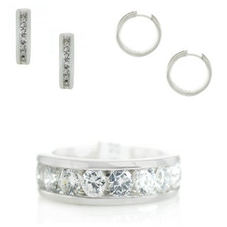 Michael Valitutti Cubic Zirconia Ring and Earring Set