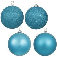 Turquoise Plastic 4-inch 4-finish Assorted Ornaments (Pack of 12)