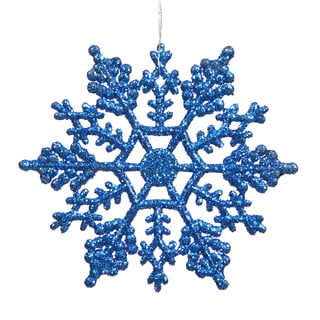 Blue 6.25-inch Glitter Snowflake Ornament (Pack of 12)