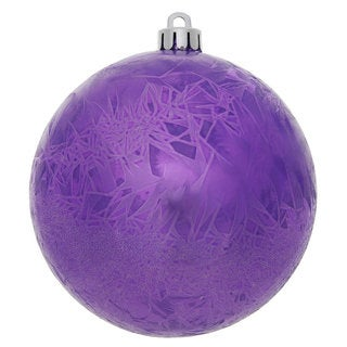 Purple Plastic 4-inch Crackle Ball Ornament (Pack of 6)