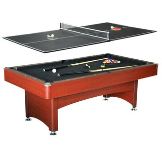 Bristol Dark Cherry/ Black MDF 7-foot Pool Table with Table Tennis Top