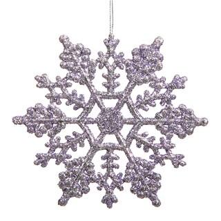 Lavender Plastic 4-inch Glitter Snowflake Ornaments (Case of 24)
