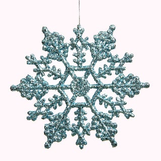 Baby Blue Plastic 4-inch Glitter Snowflake Ornament (Case of 24)