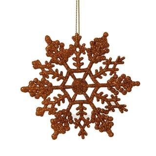 Burnished Orange Glitter Plastic 4-inch Snowflake Ornament (Pack of 24)