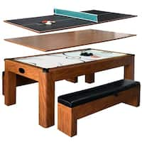 Sherwood Brown MDF 7-foot Air Hockey Table with Benches