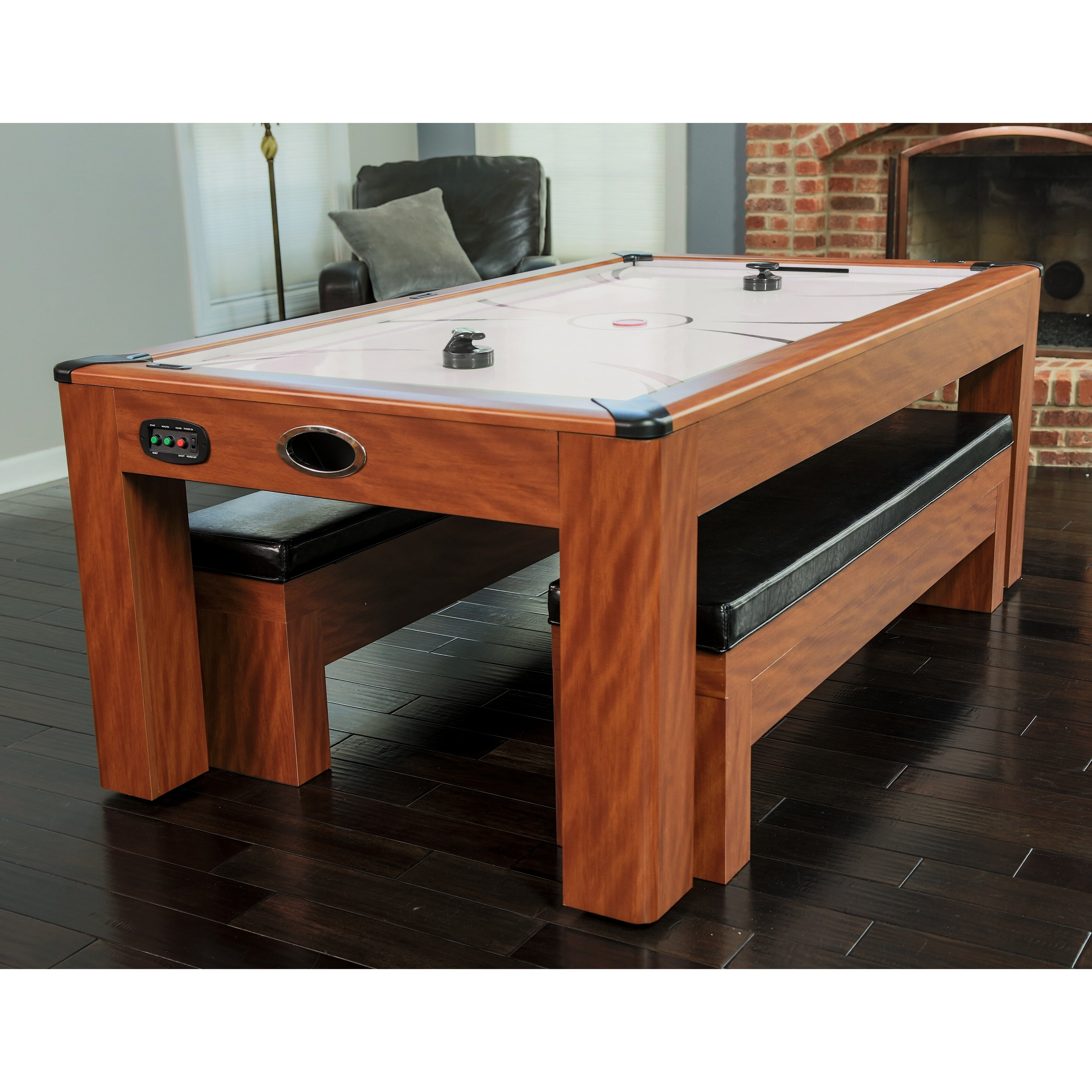 Incredible Sherwood 7 Ft Air Hockey Table With Benches Cherry Pdpeps Interior Chair Design Pdpepsorg