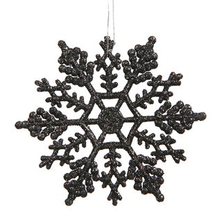 4-inch Jet Black Glitter Snowflake Ornament (Case of 24)