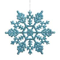 Turquoise 4-inches Glittery Snowflake Ornament (Case of 24)