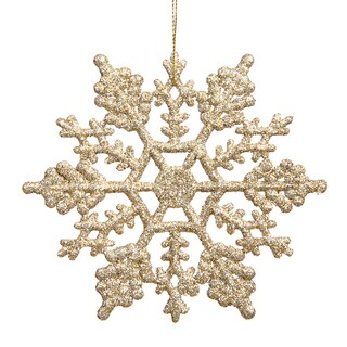 Champagne 4-inch Glitter Snowflake Ornament (Case of 24)