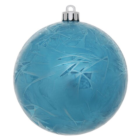 Turquoise Plastic 3-inch Crackle Ball Ornament (Pack of 12)