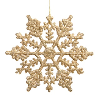 Gold 4-inch Glitter Snowflake Ornament (Pack of 24)