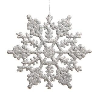 Silver Plastic 4-inch Glitter Snowflake Ornaments (Case of 24)