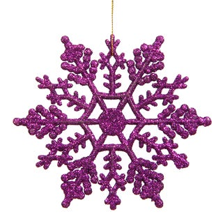 Purple 4-inch Glitter Snowflake Ornament (Case of 24)