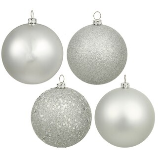 Silver Plastic 4-inch 4-finish Assorted Ornaments (Pack of 12)