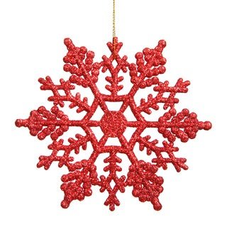 Red Plastic 4-inch Glitter Snowflake Ornament (Pack of 24)