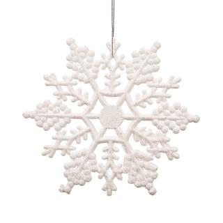White Plastic 4-inch Glitter Snowflake Ornament (Case of 24)