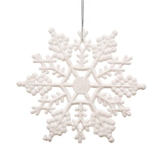 White Plastic 4-inch Glitter Snowflake Ornament (Case of 24)
