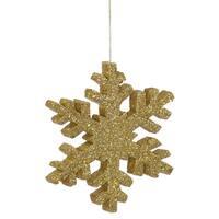 Gold Plastic 36-inch Outdoor Glitter Snowflake Ornament