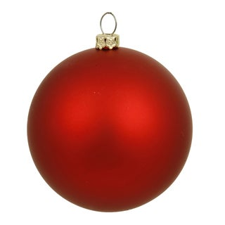 Red Matte Plastic 4-inch Ball Ornament (Pack of 6)