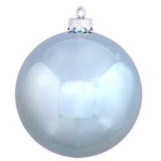 Baby Blue Plastic 3-inch Shiny Ball Ornament (Pack of 12)
