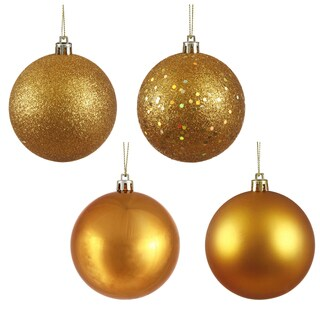 Antique Gold Plastic 3-inch Assorted Ornaments (Pack of 16)