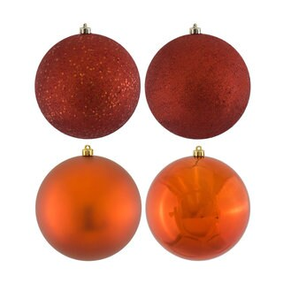 Copper-colored Plastic 3-inch 4-finish Assorted Ornaments (Pack of 16)
