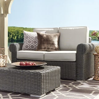 Barbados Wicker Outdoor Cushioned Grey Charcoal Loveseat with Rolled Arm by NAPA LIVING