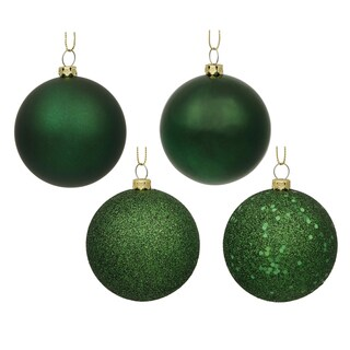 Emerald 3-inch 4 Finishes Assorted Ornaments (Pack of 16)