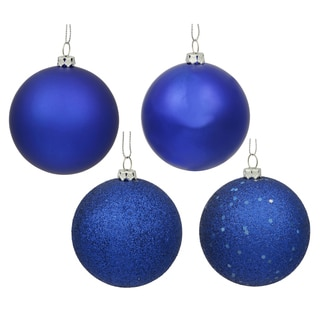 Cobalt Blue 4 Finish Assorted 3-inch Ornaments (Pack of 16)