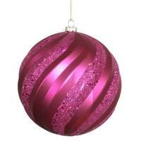 Magenta Matte-Glitter Swirl 6-inch Ball Ornament