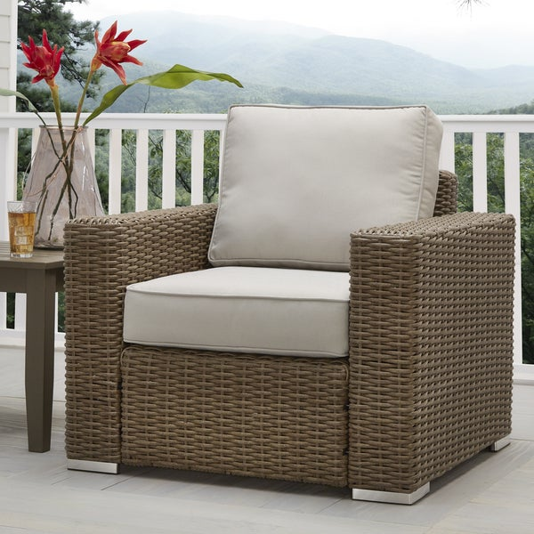 Barbados Wicker Outdoor Cushioned Brown Mocha Occasional Chair with Square Arm iNSPIRE Q Oasis