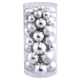 Silver Plastic Shiny/Matte Ball Ornaments (Pack of 50)