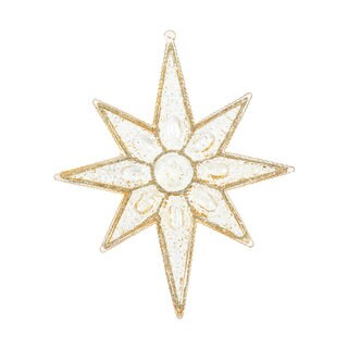 7-inch Gold Sculptured 8-point Star Ornament (Pack of 6)