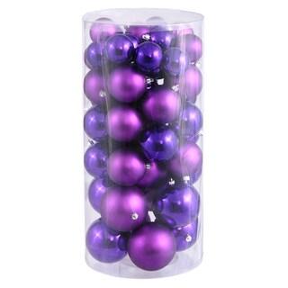 Purple Plastic 1.5-inch/2-inch Shiny/Matte Ball Ornaments (Case of 50)