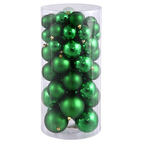 Green Plastic Shiny/Matte Ball Ornaments (Pack of 50)