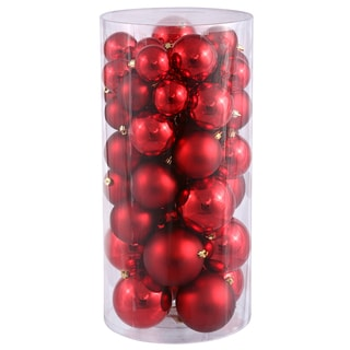 Red Plastic Shiny/Matte Ball Ornaments (Pack of 50)