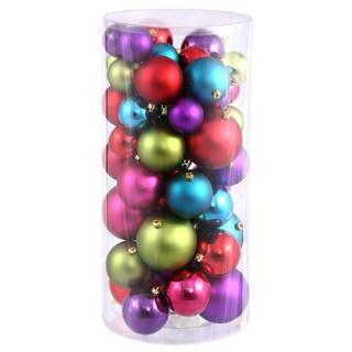 Multicolor Plastic 1.5-inch/2.5-inch Shiny/Matte Ball Ornaments (Case of 50)