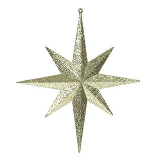 12-inch Gold Glitter Bethlehem Star Ornament (Pack of 2)