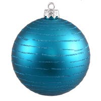 Turquoise Plastic 4.75-inch Ball with Glitter Ornaments (Set of 2)