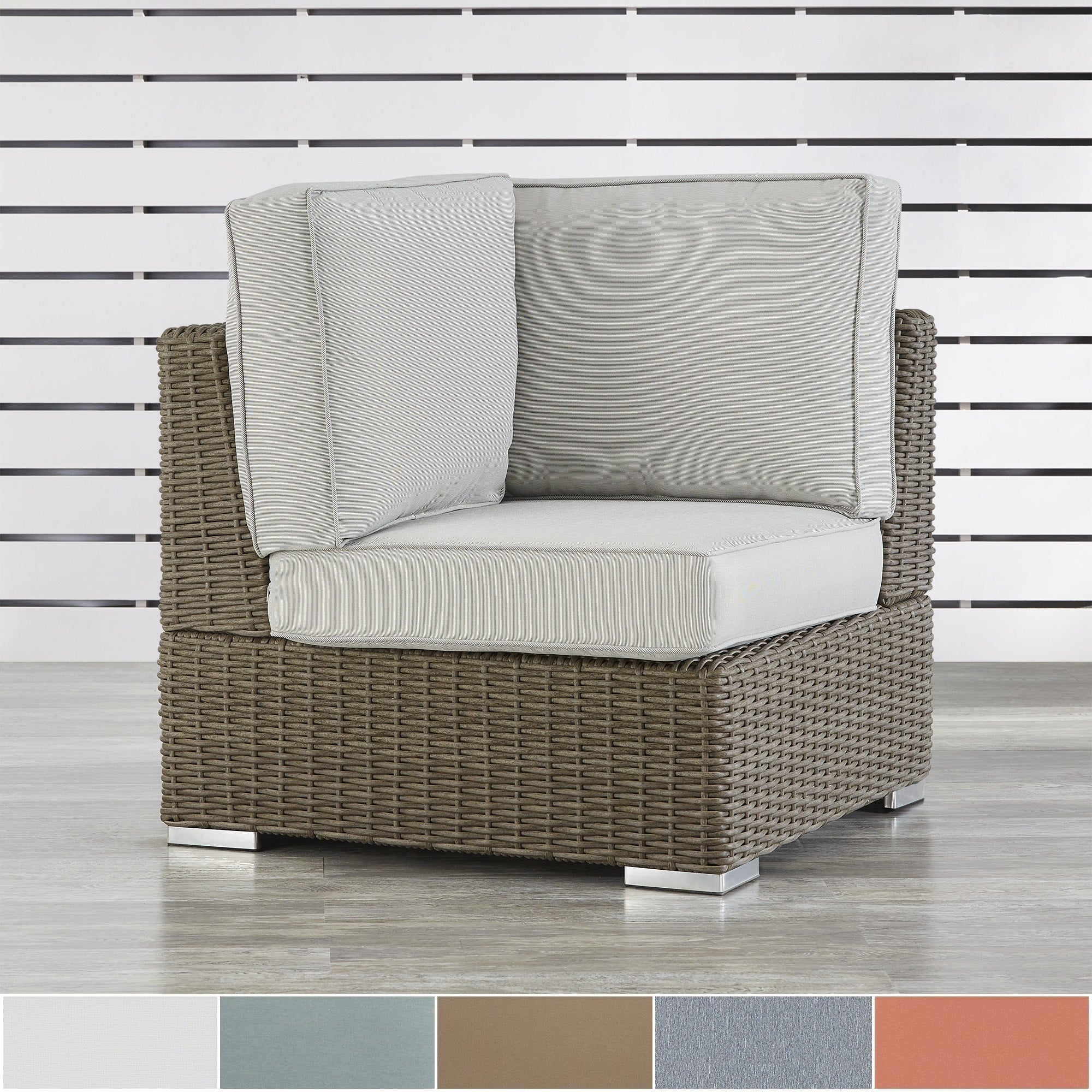 Barbados Mocha Wicker Outdoor Cushioned Sectional Corner ...