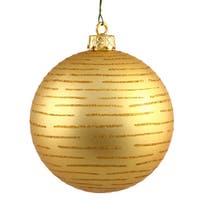 """4.75"""" Gold Ball with Glitter Ornament (Pack of 2)"""