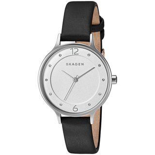Skagen Women's SKW2496 'Anita' Crystal Black Leather Watch