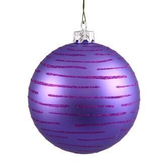 Purple Plastic 4.75-inch Glitter Ball Ornaments (Set of 2)