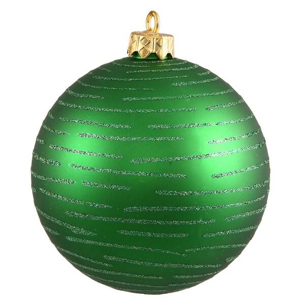 Green 4.75-inch Glitter Ball Ornament (Set of 2)