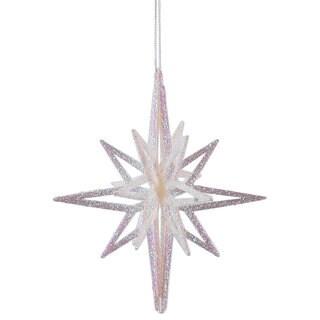"""8"""" White Iridescent 3D Glitter Star Ornament (Pack of 3)"""