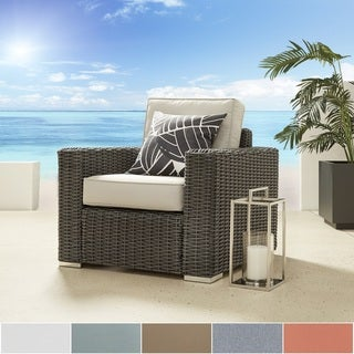 NAPA LIVING Barbados Wicker Outdoor Cushioned Occasional Chair - Charcoal Square Arm