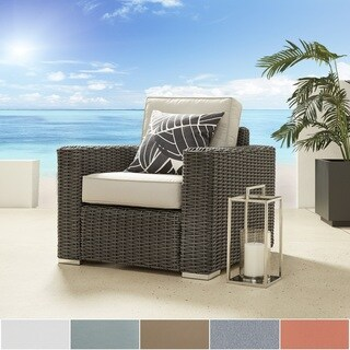 Barbados Wicker Outdoor Cushioned Grey Charcoal Occasional Chair with Square Arm iNSPIRE Q Oasis